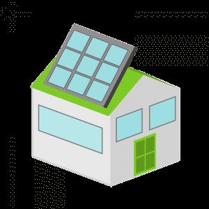 desenho de casa com painel solar no telhado