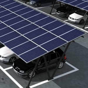 estacionamento com módulos fotovoltaicos com carros estacionados embaixo dos modulos