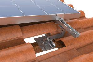 modulo fotovoltaico na estrutura de fixação painel fotovoltaico