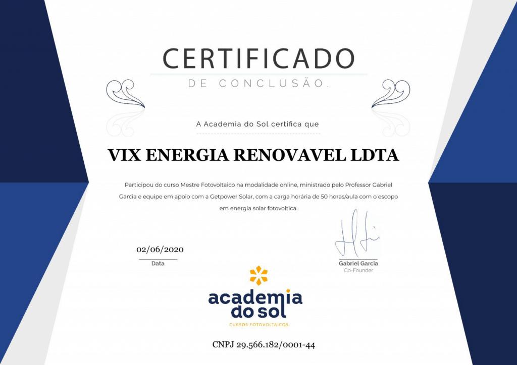 Certificado curso energia solar academia do sol